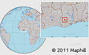 Gray Location Map of Ahafo-Ano