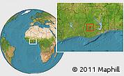 Satellite Location Map of Ahafo-Ano