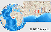 Shaded Relief Location Map of Ahafo-Ano