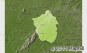 Physical Map of Ahafo-Ano, darken