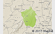 Physical Map of Ahafo-Ano, shaded relief outside