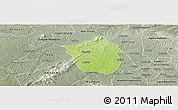 Physical Panoramic Map of Ahafo-Ano, semi-desaturated