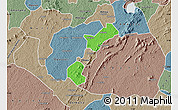 Political Map of Akrokerri Dompoase, semi-desaturated