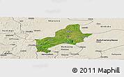 Satellite Panoramic Map of Ejura-Sekodumasi, shaded relief outside