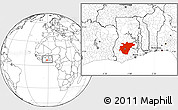 Blank Location Map of Ashanti, within the entire country