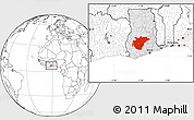 Blank Location Map of Ashanti, highlighted country