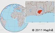 Gray Location Map of Ashanti