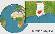 Satellite Location Map of Ashanti, highlighted country