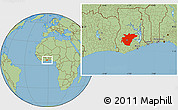 Savanna Style Location Map of Ashanti