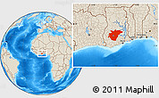 Shaded Relief Location Map of Ashanti