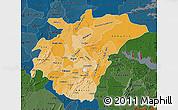 Political Shades Map of Ashanti, darken