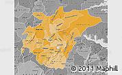 Political Shades Map of Ashanti, desaturated