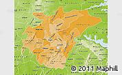 Political Shades Map of Ashanti, physical outside