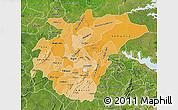 Political Shades Map of Ashanti, satellite outside