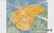 Political Shades Map of Ashanti, semi-desaturated
