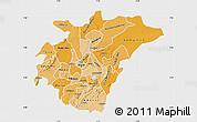 Political Shades Map of Ashanti, single color outside