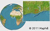 Satellite Location Map of Obuasi