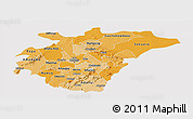 Political Shades Panoramic Map of Ashanti, cropped outside