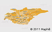 Political Shades Panoramic Map of Ashanti, single color outside