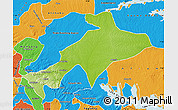 Physical Map of Sekyere, political outside