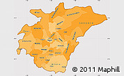 Political Shades Simple Map of Ashanti, cropped outside
