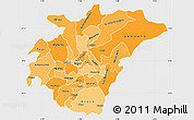 Political Shades Simple Map of Ashanti, single color outside