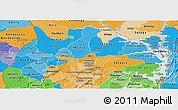 Political Shades Panoramic Map of Brong Ahafo