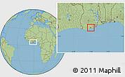 Savanna Style Location Map of Abura