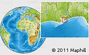 Physical Location Map of Gomoa-Assin-Ajumako, highlighted parent region