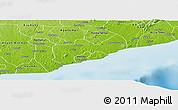 Physical Panoramic Map of Gomoa-Assin-Ajumako