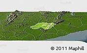Physical Panoramic Map of Nsawam-Aburi, darken