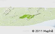 Physical Panoramic Map of Nsawam-Aburi, lighten