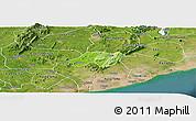 Physical Panoramic Map of Nsawam-Aburi, satellite outside