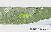 Physical Panoramic Map of Nsawam-Aburi, semi-desaturated