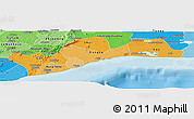 Political Shades Panoramic Map of Greater Accra
