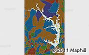 Political Map of Lake Volta, darken