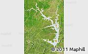 Political Map of Lake Volta, satellite outside