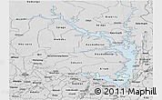 Silver Style Panoramic Map of Lake Volta