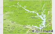 Physical Panoramic Map of Lake Volta