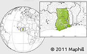 Physical Location Map of Ghana, blank outside