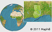 Physical Location Map of Ghana, satellite outside