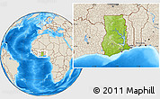 Physical Location Map of Ghana, shaded relief outside
