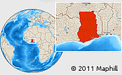 Shaded Relief Location Map of Ghana