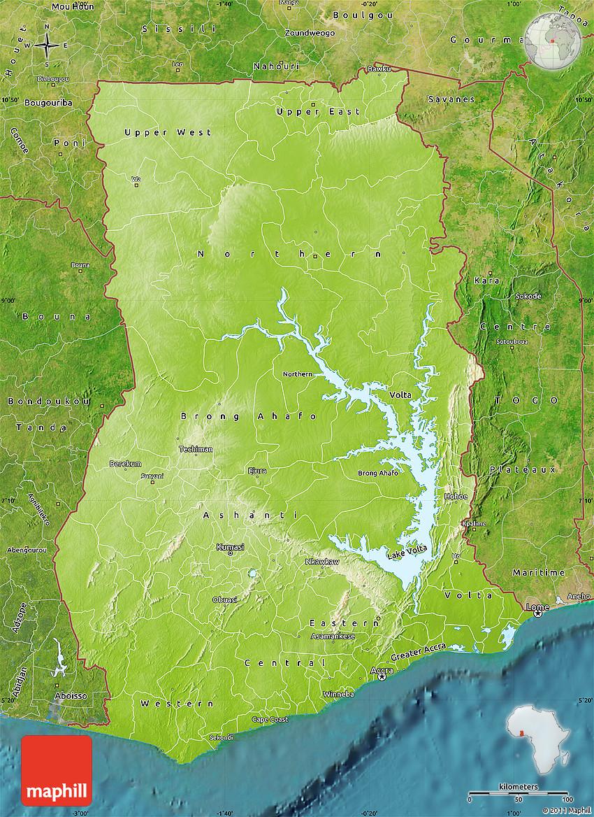 Physical Map of Ghana, satellite outside on towns and villages in ghana, swedru ghana, city of ghana, apartments in ghana, satellite view of ghana, satellite map kenya, republic of ghana, district in volta ghana, food of ghana, capital of ghana, western ghana, eastern region ghana, akuse ghana, street view of ghana, aerial view of ghana, nzema ghana, volta region ghana, russia of ghana, fashion of ghana, village of ghana,