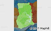 Political Shades Map of Ghana, darken