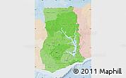 Political Shades Map of Ghana, lighten