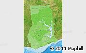 Political Shades Map of Ghana, satellite outside, bathymetry sea