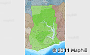 Political Shades Map of Ghana, semi-desaturated, land only