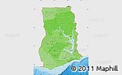 Political Shades Map of Ghana, single color outside