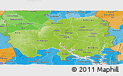 Physical Panoramic Map of Northern, political shades outside